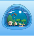 sea resort with bungalows island with palm trees vector image vector image