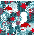 Seamless pattern with snowman and flowers vector image