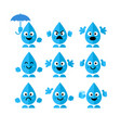 Set collection of emotions water drop characters
