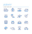 set color line icons army vector image