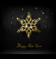 shining gold texture snowflake on the black vector image