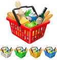 Shopping basket with foods