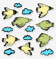 stickers set with birds and clouds collection of vector image vector image
