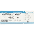 template of plane ticket for business trip vector image vector image