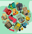 tourist camping backpack round pattern travel vector image vector image