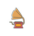 vintage gramophone audio melody sound music line vector image