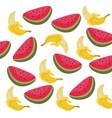 watermelon and banana summer pattern vector image vector image