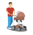 Young father with a baby stroller vector image vector image