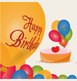 happy birthday cake colored balloons celebration vector image