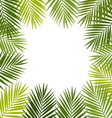 Palm leaf silhouettes frame Tropical leaves vector image