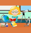 teacher reading book in classroom vector image