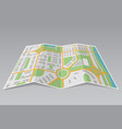 abstract city map paper partially folded on gray vector image vector image
