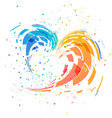 abstract splash colorful heart vector image