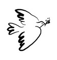 black minimalist modern linear pigeon bird sketch vector image