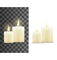 burning wax candles with bright flame vector image