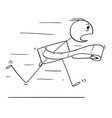 cartoon of man running in panic to toilet or vector image