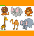cartoon safari animals funny characters set vector image