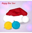 Cartoon Santa Claus hat with Cristmas balls in