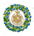 christmas wreath with balls with snowflake inside vector image vector image