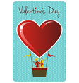 Couple in hot air balloon Valentines day greeting vector image vector image