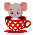 cute cartoon mouse in a cup vector image vector image