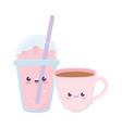 cute coffee cup and milkshake kawaii cartoon vector image