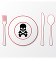 cutlery with skull vector image