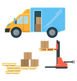 delivery truck with postal packages and machine vector image