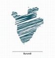 Doodle sketch of Burundi map vector image vector image