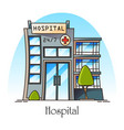 facade hospital in thin line or clinic hospice vector image vector image