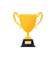 flat golden trophy cup icon with nameplate vector image