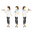 flat style female barista or coffee waiter vector image