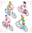 Girl Teen Cycling Isometric People vector image