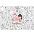 Girl with birthday cupcake on happy birthday vector image