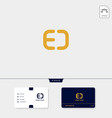 gold initial ed de e or d creative logo template vector image