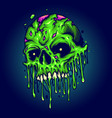 green zombie skull isolated melt vector image