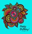 happy birthday card with indian floral pattern vector image