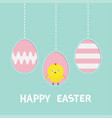 happy easter text three painting egg hanging vector image vector image