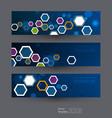 hexagon circuit technology hexagon shape on dark vector image vector image
