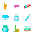 house personal hygiene icon set cartoon style vector image