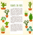 house plant and cactus brochure page vector image