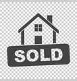 house with sold sign flat on isolated background vector image vector image