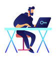 it specialist at desk working on laptop vector image