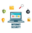 laptop with internet security icons vector image