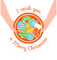 merry christmas greeting with gingerbread cookies vector image vector image
