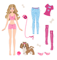 Paper doll with clothes and dog vector image