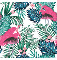 pink flamingo tropical blue green leaves red vector image