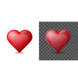 red heart isolated on white and transparent vector image vector image
