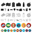 rest and travel flat icons in set collection for vector image