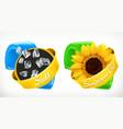 salt sunflower oil labels 3d realistic package vector image